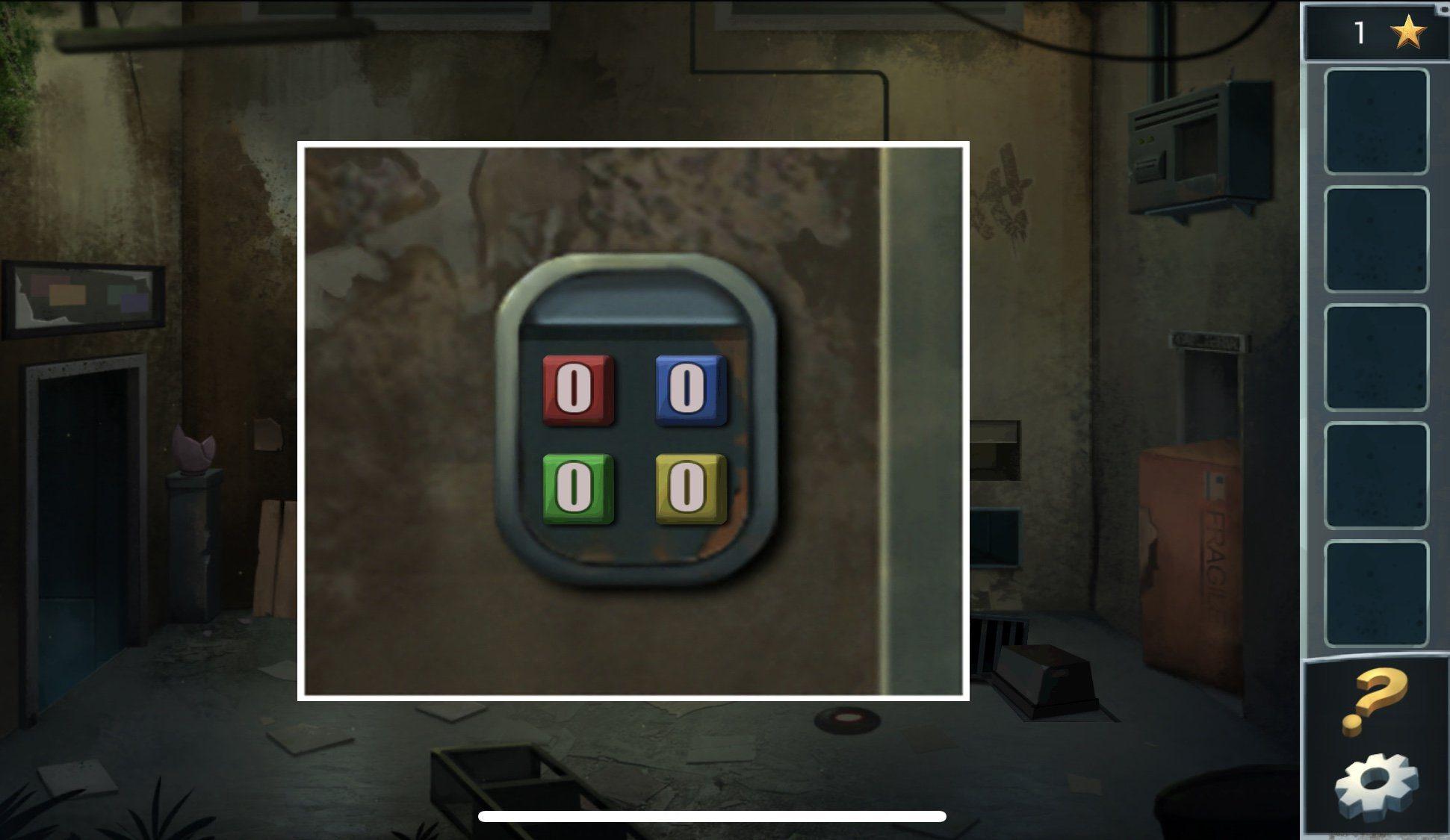 В столовой воспользуйтесь палкой, чтобы достать с полки масло – смажьте маслом колесо у тележки. Тележка откатиться в стену, ударив по стене. С обратной стороны откроется полка, возвращайтесь в лифтовой холл и заберите с полки ключ, ключом откройте панель у кнопки лифта. На панели введите комбинацию из цифр, ее можно увидеть на часах: в кухне и лифтовом холле. (Синий цвет – 3; желтый – 9; остальные – 0).