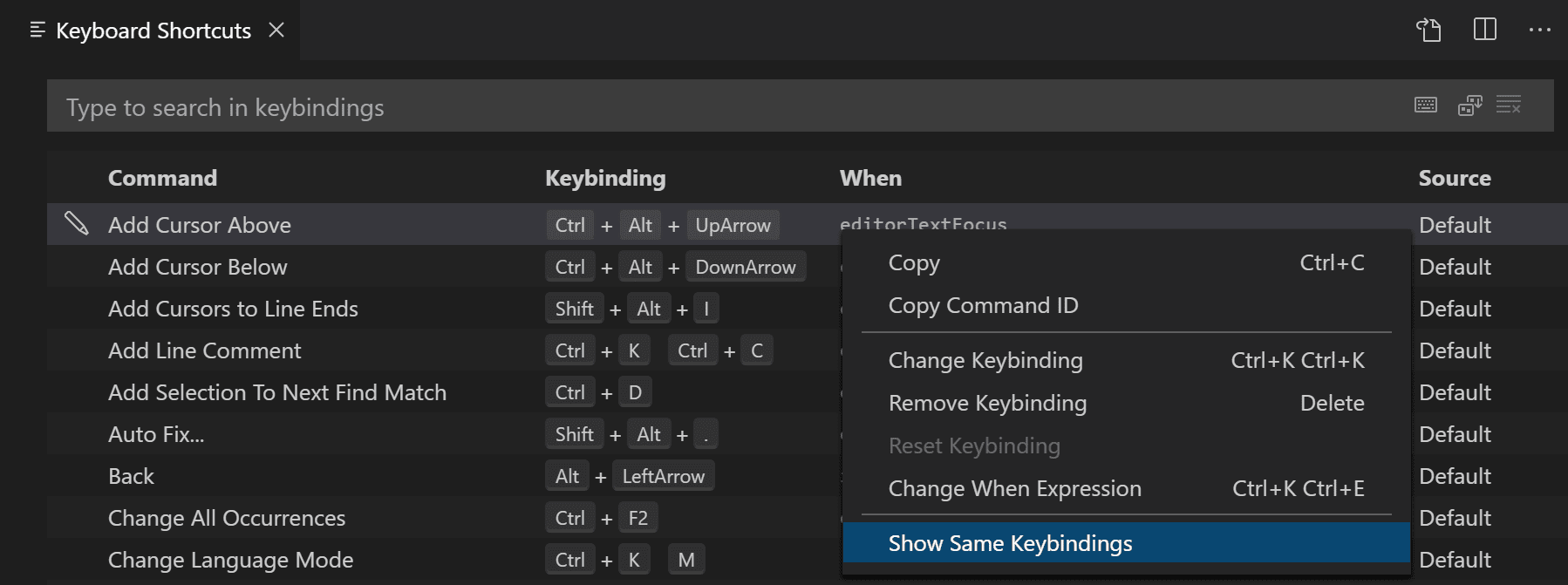 show keybinding conflicts menu
