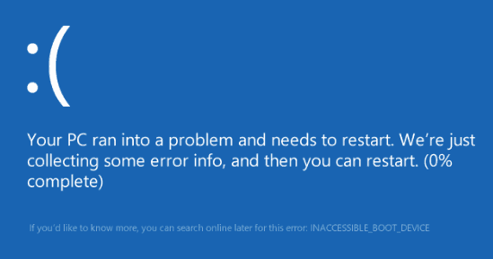 BSOD INACCESSIBLE_BOOT_DEVICE.