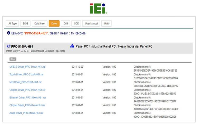 Пример раздела «Downloads» на сайте iEi