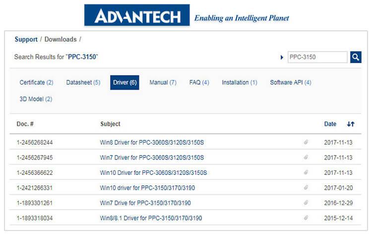 Пример раздела «Downloads» на сайте Advantech