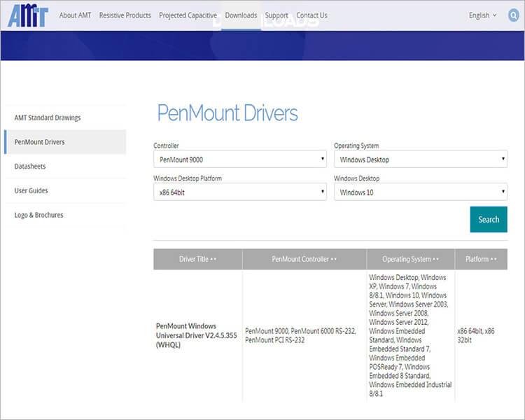 Раздел «Downloads» на сайте производителя контроллеров AMT PenMount