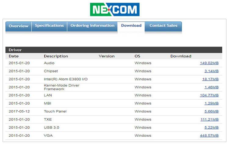 Пример раздела «Downloads» на сайте Nexcom