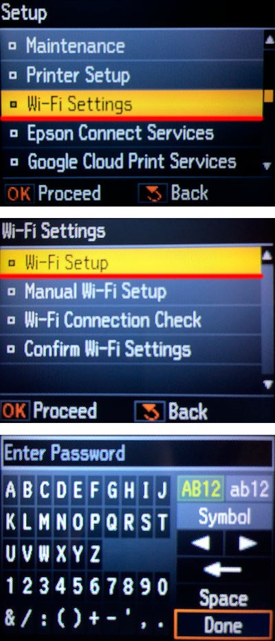 Wifi settings on printer