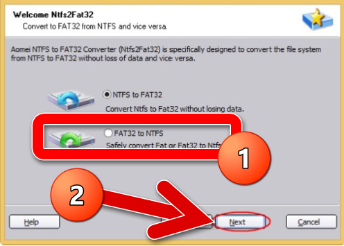 fat 32 to ntfs