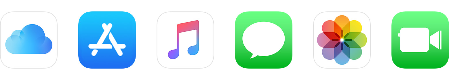 Icons for iCloud, App Store, Music, Messages, Photos, and FaceTime