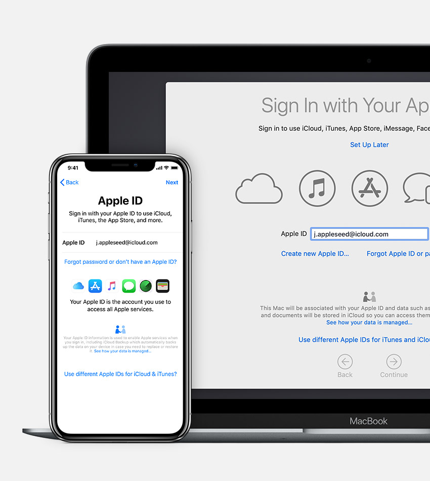 Mac and iPhone showing Apple ID sign in screen