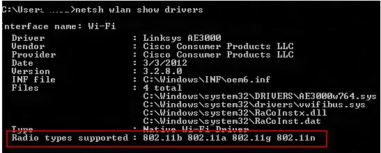 netsh wlan show drivers - Radio types supported