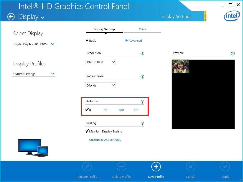 Intel® Graphics Control Panel
