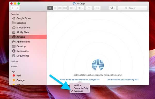 airdrop discovery settings